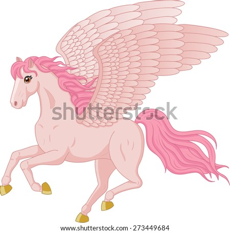 Vector illustration of beautiful running Pegasus - stock vector