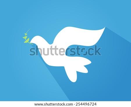 Vector illustration of beautiful shiny white dove flying - stock vector
