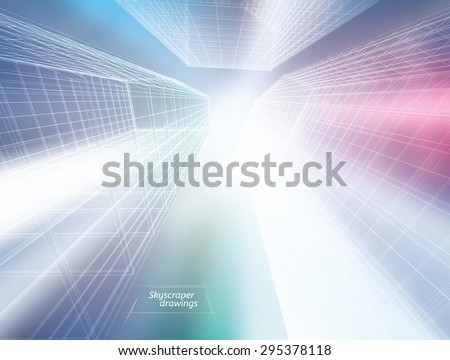 Vector illustration of beautiful skyscrapers. View from below. Useful abstract urban background for business brochure, leaflet, print and other modern and futuristic design. - stock vector