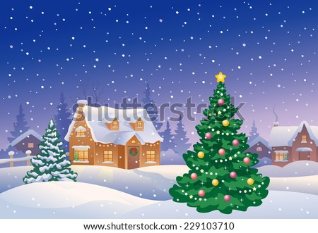 Vector illustration of beautiful snowy Christmas village and decorated cute fir tree - stock vector