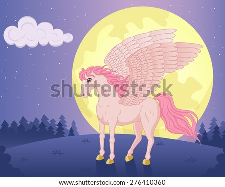 Vector illustration of beautiful standing Pegasus and big moon - stock vector