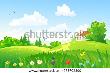 Vector illustration of beautiful summer landscape with a home - stock vector