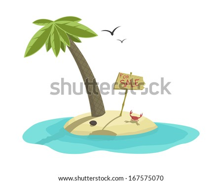Vector illustration of beautiful tropical island for sale   - stock vector