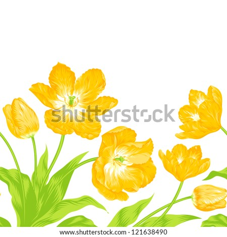 Vector illustration of beautiful tulips bouquet - stock vector