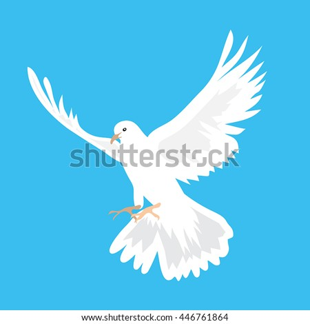Vector illustration of beautiful white dove flying way up in a blue sky - stock vector