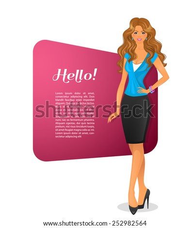 Vector illustration of Beautiful woman character image - stock vector