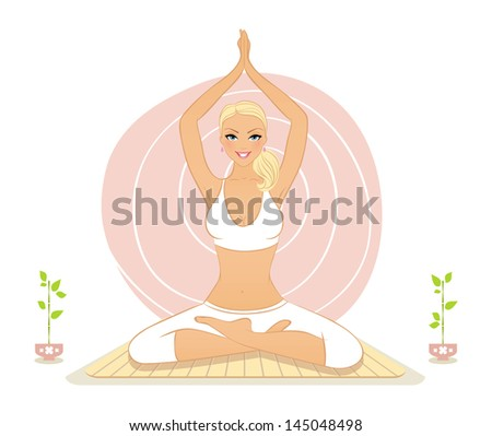 Vector illustration of Beautiful woman doing yoga exercises
