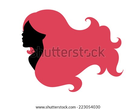 Vector illustration of Beautiful woman's silhouette  - stock vector