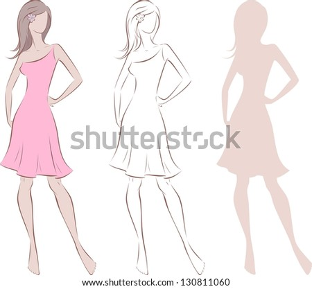Vector illustration of beautiful woman's silhouette in dress with long hair. Three options - stock vector