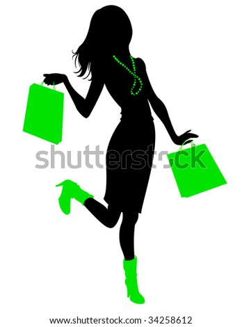 Vector illustration of beautiful woman silhouette during the shopping and holding the bags.