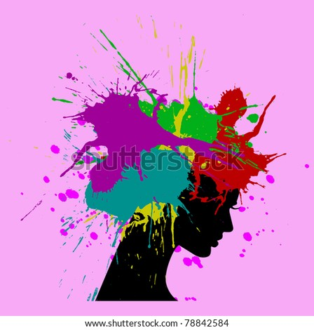 vector illustration of beautiful woman silhouette with hair covered with colored splashes - stock vector