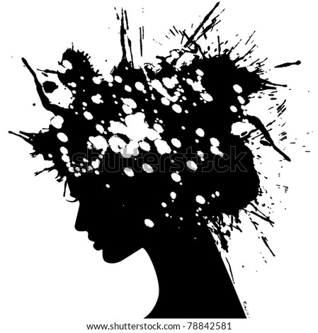 vector illustration of beautiful woman silhouette with hair covered with splashes - stock vector