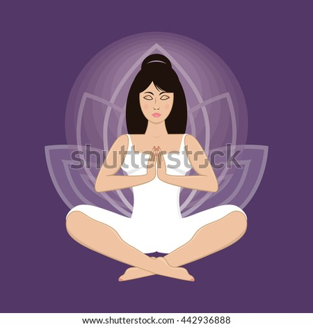 Vector illustration of beautiful young woman practicing yoga, meditating in lotus pose and namaste position.