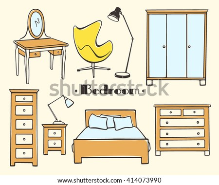 Vector illustration of bedroom furniture. Hand drawn furniture set made in linear style. Beautiful design elements, perfect for any business related to the furniture industry.
