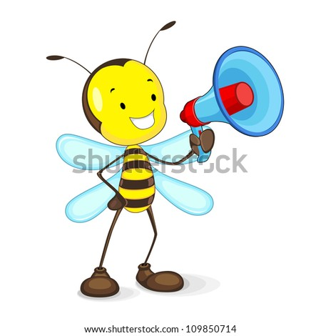 vector illustration of bee announcing through megaphone - stock vector