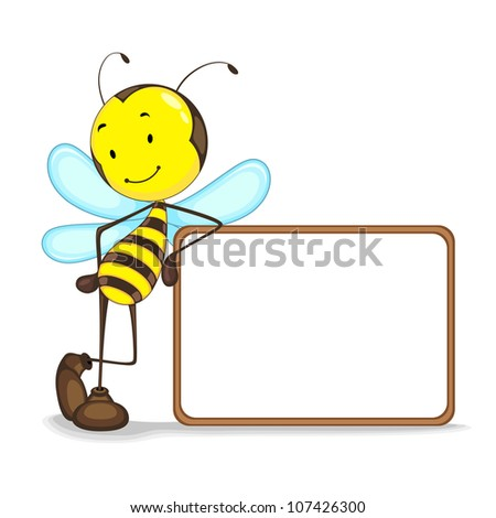 vector illustration of bee giving presentation with blank board - stock vector