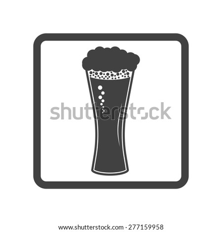 Vector illustration of beer in glass icon. Simple black on white background. Button.