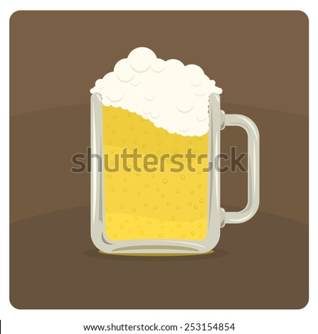 Vector illustration of beer mug with frothy foam  - stock vector