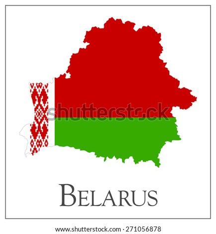 Vector illustration of Belarus flag map - stock vector
