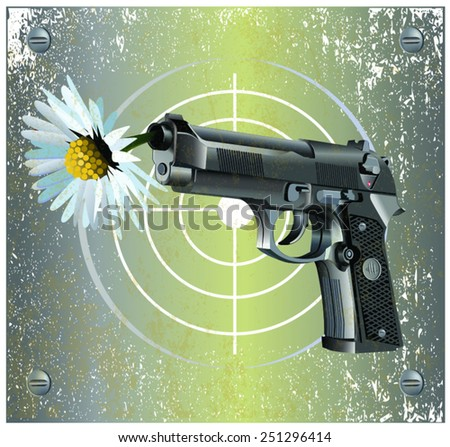Vector illustration of Beretta Elite II handgun on vintage metal plate background with camomile flower and ladybug. - stock vector
