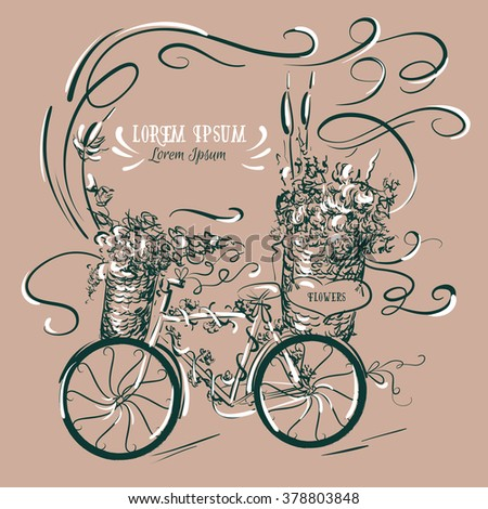 Vector illustration of bicycle with flowers made in hand drawn line style.  Template for business  or greeting card, poster and banner.  - stock vector