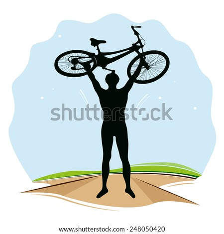 Vector illustration of bicyclist. - stock vector