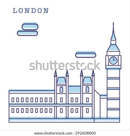 Vector illustration of Big Ben. Clean shapes and lines. Modern linear style. London landmark. Can be used for logo, banner, poster and etc. - stock vector