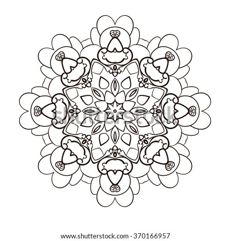 Vector illustration of big detailed mandala. Floral abstract background. Concept round ornament for yoga studio, meditation, Indian, Arabic or Thai cuisine restaurant, tattoo salon, wedding invitation