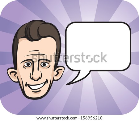 Vector illustration of big eared face with speech bubble. Easy-edit layered vector EPS10 file scalable to any size without quality loss. High resolution raster JPG file is included. - stock vector
