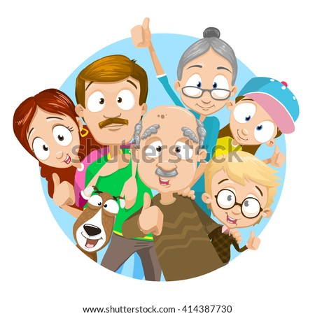 Vector illustration of big family. Family members showing thumbs up. Family portrait. Big happy family with their dog - stock vector