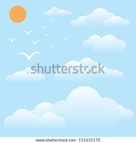 vector illustration of bird at sky, sun and cloud - stock vector