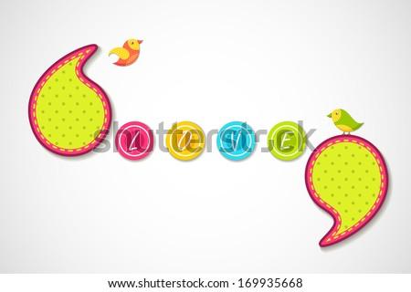 vector illustration of birds in love background - stock vector
