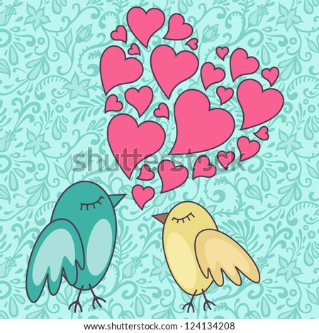vector illustration of birds singing a love song - stock vector
