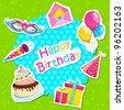 vector illustration of birthday card with cake and gifts - stock vector