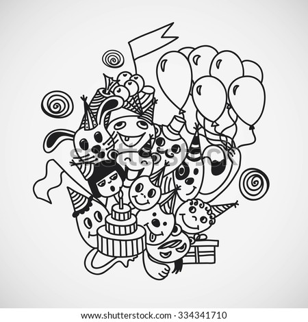 Vector illustration of birthday. Coloring book page design.  - stock vector