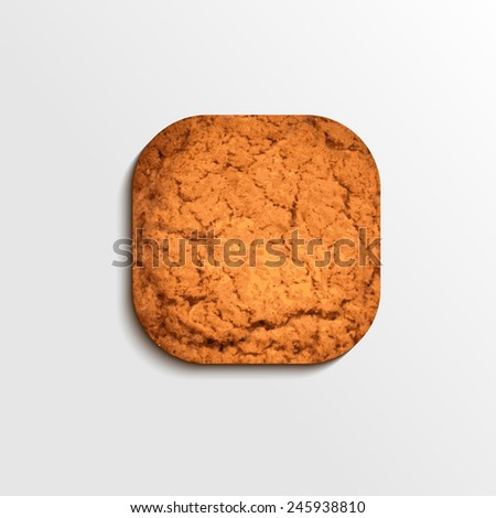 Vector illustration of biscuit square button, isolated on grey background, eps10. - stock vector