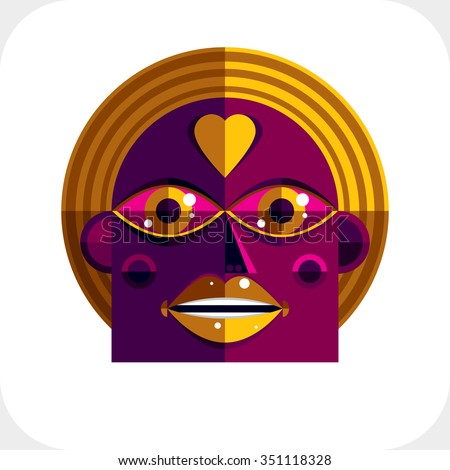 Vector illustration of bizarre modernistic avatar, cubism theme picture. Expression on person face. - stock vector