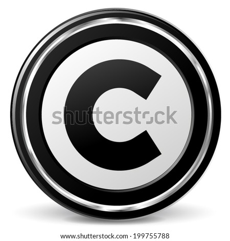 Vector illustration of black and chrome copyright  icon