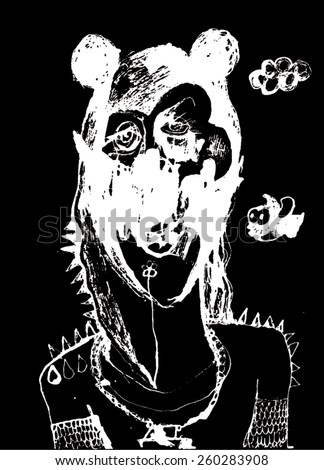 Vector illustration of black and white creature head. Abstract, hand drawn, big ears. - stock vector