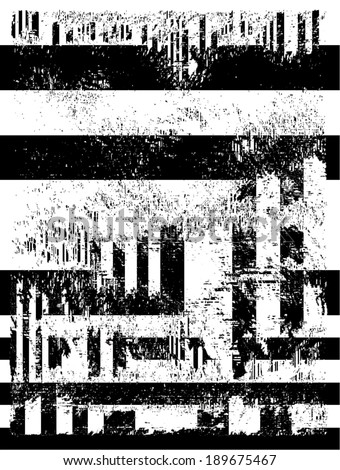 Vector illustration of black and white glitch distorted pattern.