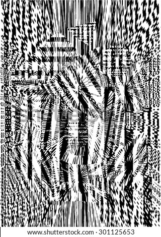 Vector illustration of black and white glitch distorted pattern. Tartan, plaid fabric.