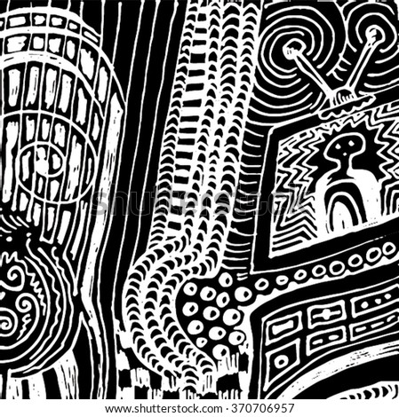 Vector illustration of black and white hand drawn graphic pattern / background. Checkers, lines, distressed, distorted, tube, alien, tv, grunge image.