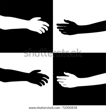 vector illustration of black and white hands - stock vector