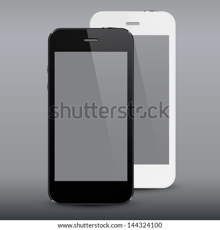 Vector illustration of black and white modern realistic smartphone with empty screen. Eps10.
