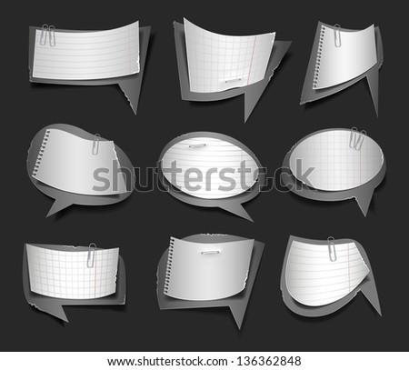 Vector illustration of black and white retro paper bubbles speech - stock vector