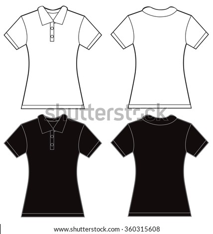Vector illustration of black and white women's polo shirt, front and back design, isolated on white