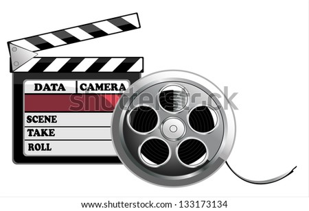 Vector illustration of black clapper board for film, movie and cinema production isolated on white background
