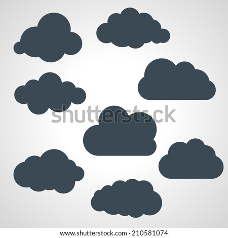 vector illustration of black clouds collection - stock vector