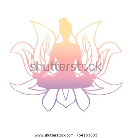 Vector illustration black female silhouette yoga stock vector vector illustration of black female silhouette in yoga pose and buddhist symbol lotus flower slim mightylinksfo