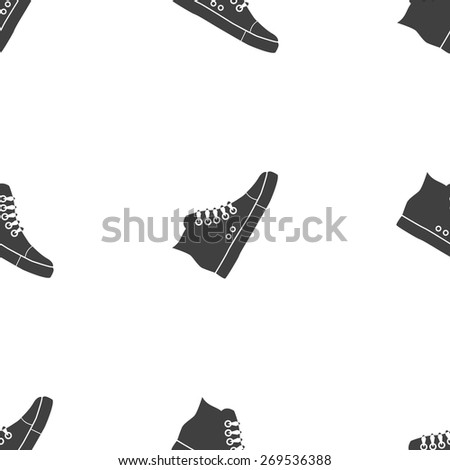 Vector illustration of black fitness gumshoes on white background. Seamless pattern. - stock vector